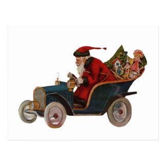 Santa in Car Postcard