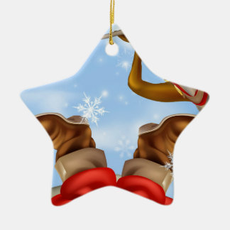 Santa in chimney and reindeer ornament