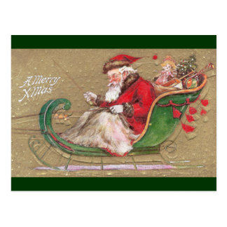 Santa in Green Sleigh With Toys Postcard