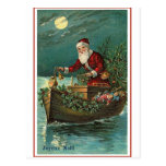Santa in his Boat Postcard