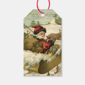 Santa in his Sleigh Gift Tags