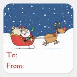 Santa In His Sleigh Square Stickers