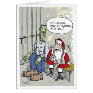Santa In Jail cartoon Christmas greeting card