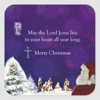 Santa in Nativity Square Sticker