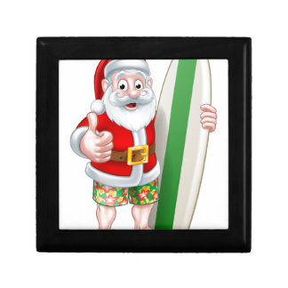 Santa in Shorts Holding Surfboard Gift Box