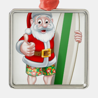 Santa in Shorts Holding Surfboard Silver-Colored Square Decoration