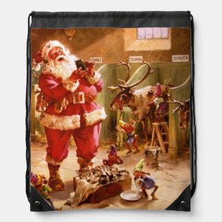 Santa in the Reindeer Barn Drawstring Bag