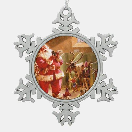 Santa in the Reindeer Barn Ornaments