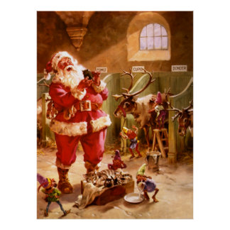 Santa in the Reindeer Barn Poster