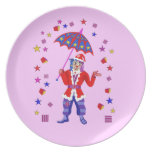 Santa in the shower party plates