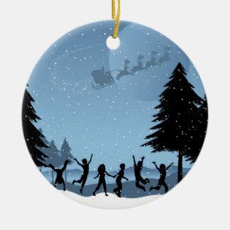 Santa in the Sky Christmas Ornament