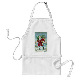 Santa in the Snow Carrying Drum and Tree Standard Apron