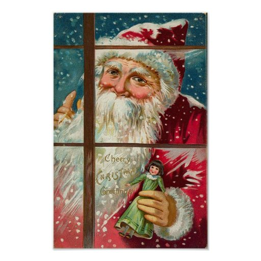 Santa in the Window Print