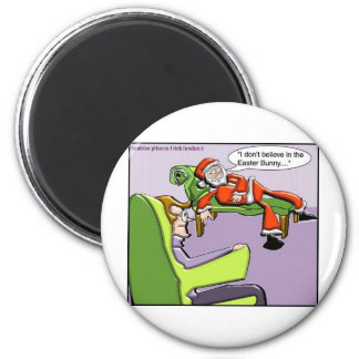 Santa In Therapy Funny Christmas Gifts & Tees 6 Cm Round Magnet