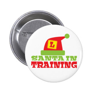 SANTA in TRAINING! with cute Santas hat 6 Cm Round Badge