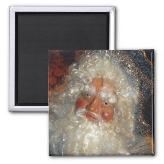 Santa in Workshop Square Magnet