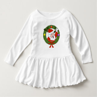 Santa in Wreath Toddler Ruffle Dress