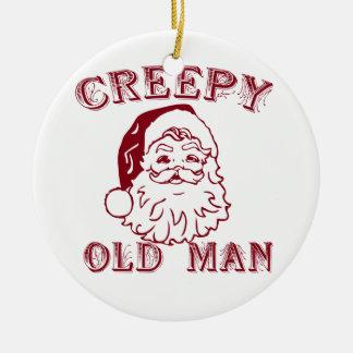 Santa is a creepy old man round ceramic decoration