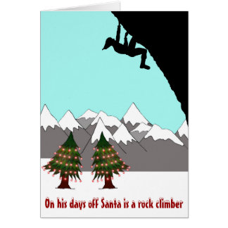 Santa is a rock climber Christmas card