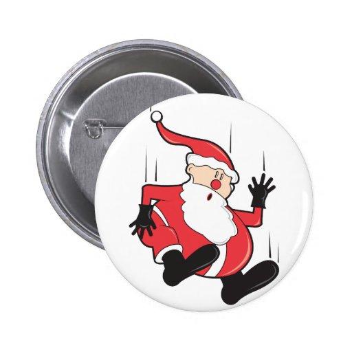 Santa is Falling Christmas Button