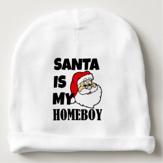 Santa is my homeboy funny baby boy bib baby beanie
