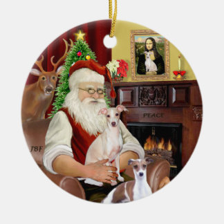 Santa - Italian Greyhound (TWO) Christmas Ornament