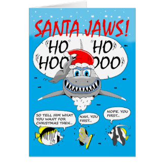 SANTA JAWS! Christmas greeting card. Shark fun. Card