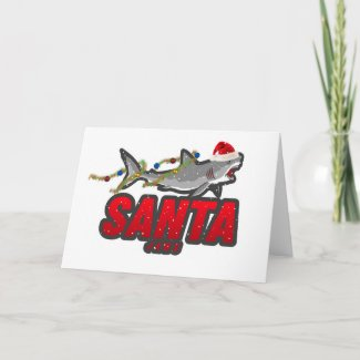 'SANTA JAWS' JAWS great white shark Christmas card