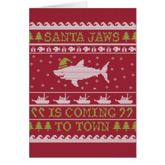 Santa Jaws Ugly Sweater Christmas Shark Cards