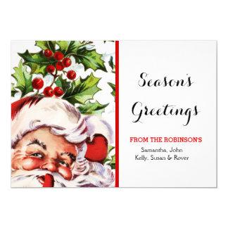 Santa jolly holly mistletoe vintage 13 cm x 18 cm invitation card