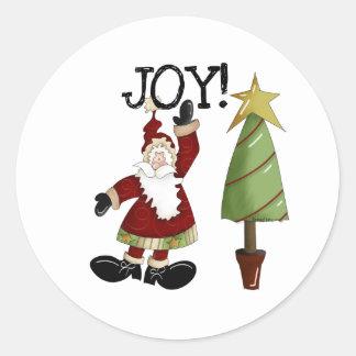 Santa Joy Christmas Holiday Classic Round Sticker