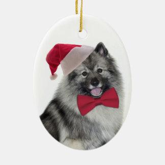 Santa Keeshond Christmas Ornament