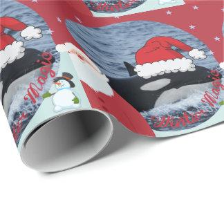 Santa Killer whale Christmas wrap Wrapping Paper