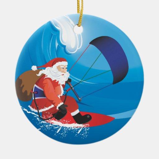 Santa Kitesurf Ornament