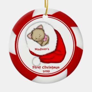 Santa Kitten Baby's First Christmas Ornament