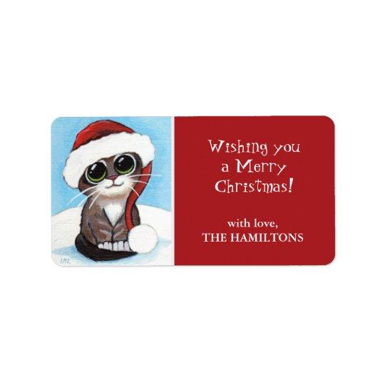 Santa Kitten Christmas Gift Tag Labels