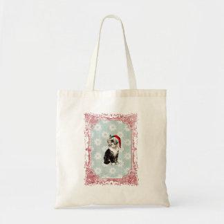 Santa Kitten Snowflakes Christmas Bag