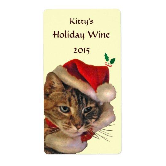 Santa Kitty Christmas Wine Label