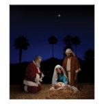 Santa Kneeling at Nativity Poster