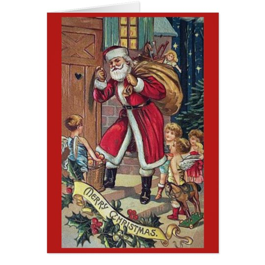Santa Knocking Vintage Christmas Card
