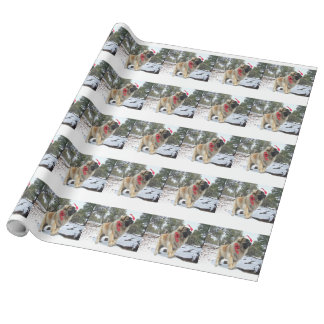 Santa leonberger wrapping paper