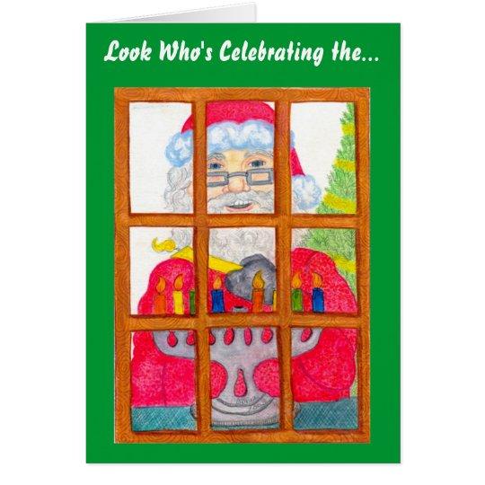 Santa Lighting Menorah Card