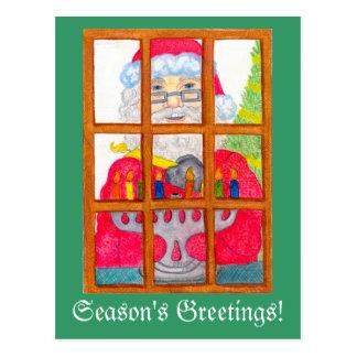 Santa Lighting Menorah Postcard