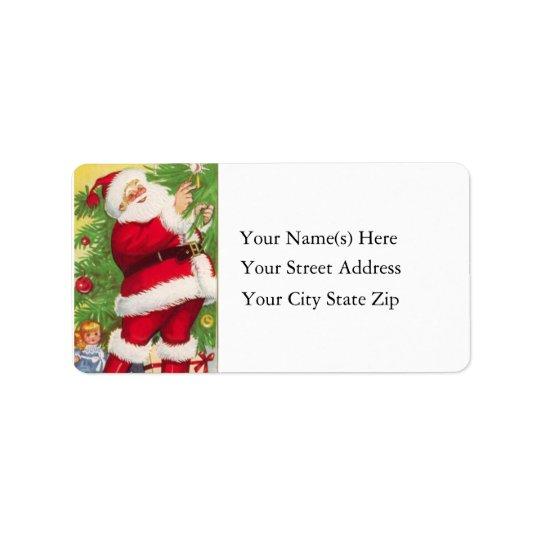 Santa Lights the Tree Vintage Address Label