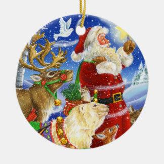 Santa Lights the Way Christmas Ornament