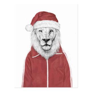 Santa lion postcard