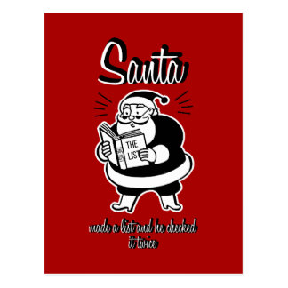 Santa List Naughty or Nice Christmas Postcard