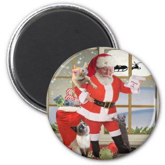 Santa Looks for Kitten's Names 6 Cm Round Magnet