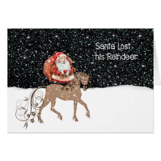 Santa Lost His Reindeer Christmas Card for Kids