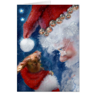 Santa Loves Animals Christmas Greeting Card